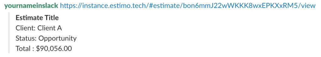 An example Estimo URL in Slack, after integration