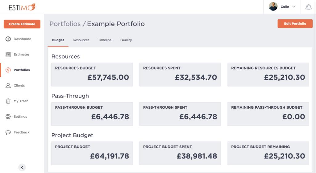 Budget in Estimo Portfolios